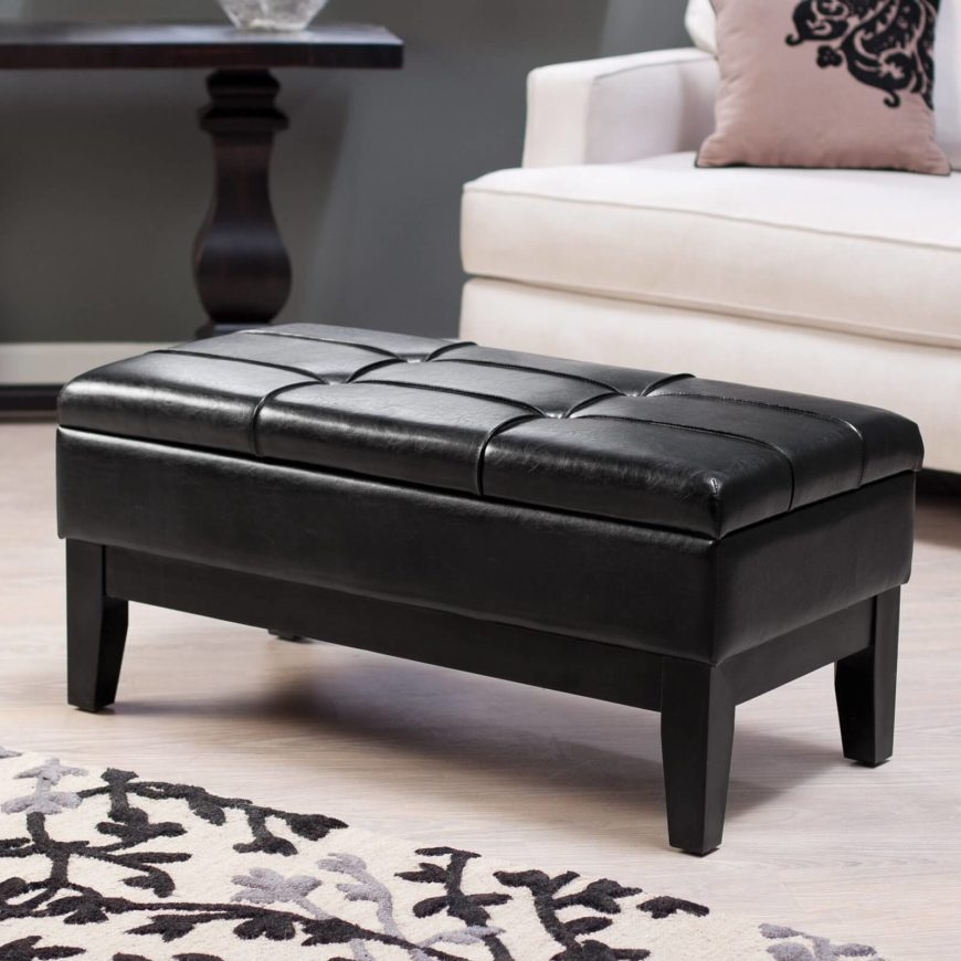 More than just an ottoman, the Livington storage bench is an extra seating solution with a cozy cushion on the top. The bench has a hidden compartment for storage, and is crafted out of sturdy wood, so it will last even though years of gatherings in your man cave. The faux leather is a cinch to clean, too!