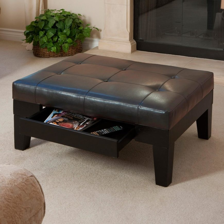 This versatile storage ottoman has a unique pullout drawer instead of a lifting top. The drawer is the perfect spot for storing remote controls, video game controllers, or other items that are easily lost. The padded surface of the ottoman makes it ideal for propping up your feet, while still remaining flat and firm enough to accommodate serving trays.