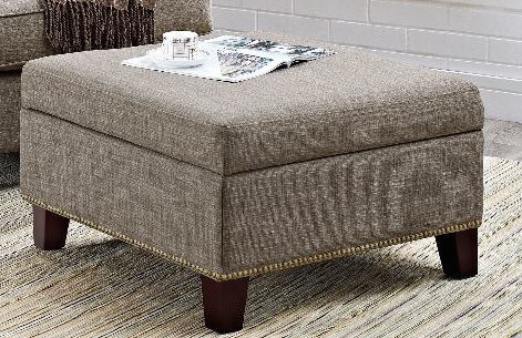 The linen fabric of this contemporary ottoman and the soft padding beneath it make this ottoman the perfect place to prop up your feet. Best of all, the hinged lid opens up to reveal a large interior storage compartment where you can store DVDs, blankets, or pillows neatly out of sight.