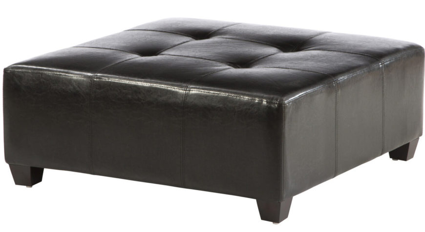This sleek faux leather ottoman doubles as a large coffee table, as well as serving its primary function to prop up your feet. As a cocktail ottoman, it is easy to wipe clean should there be a spill. The combination of black faux leather, button tufting, and sturdy block feet give this pieces a wholly contemporary look.