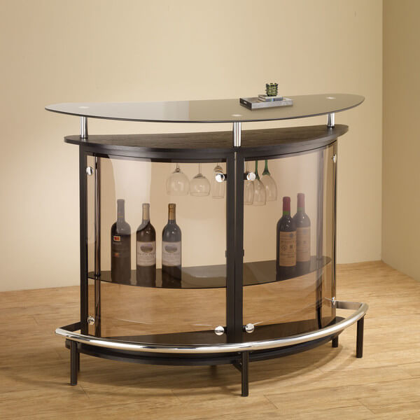 Our first man cave bar is a sleek little unit employing loads of glass for a light and airy appearance. This won't take up a ton of space, so it can be used in a huge variety of room sizes and styles. The modern styling complements a similarly styled room, and offers plenty of space for drinks and glasses.