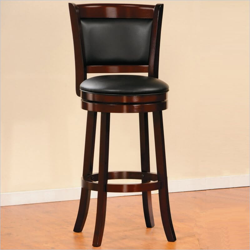 Many man caves are a more casual place, a spot to completely unwind, away from the family, alone or with friends. Some, however, seek to create an elevated space of culture, luxury, and elegance. This bar stool is made for the latter type of man cave, with its rich wood construction, black leather upholstery, high back, and solid swivel design. This model is perfectly matched with a rich wood home bar set.