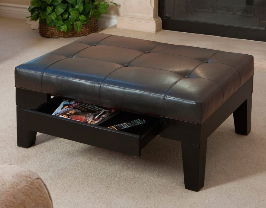 This versatile storage ottoman has a unique pullout drawer instead of a lifting top. The drawer is the perfect spot for storing remote controls, video game controllers, or other items that are easily lost.