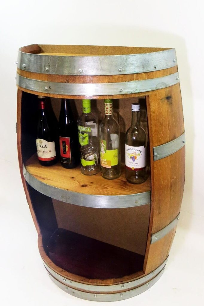 This Gorgeous Piece Of Rustic Industrial Fun Is Handcrafted With Reclaimed Wine Barrel Wood For An
