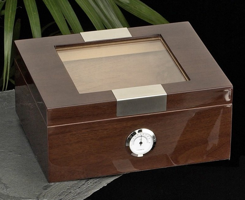 While most humidors are entirely opaque, leaving their contents a mystery, we found a gorgeous model with a window built into the lid. Meshing perfectly with the glossy wood finish of the box itself, the window is bookended by strips of stainless steel, making this both elegant and tough looking, perfect for any modern man cave.