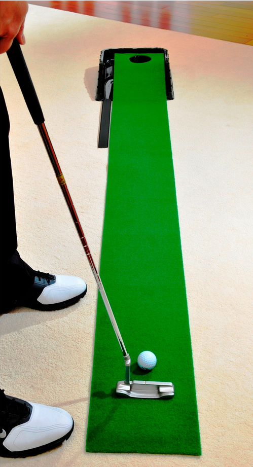 Are you a golfer? More to the point: do you like putting? Even those who don't head out to the links regularly often enjoy a nice brief game of putting golf, and it's been easy to do so for years in your own home thanks to setups like this. We believe that a man cave might be the only place at home where you could set one up and leave it out year-round. It's the perfect distraction.