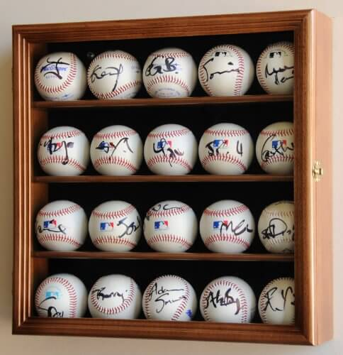 Returning to baseball fans, we've got the perfect display case for the true devotees of the game. This handsome natural wood wall mounted display case features built-in UV protection to ensure that your precious collectible balls never fade or wear. For collectors and deeply devoted fans of the game, there's no better accessory for the man cave.