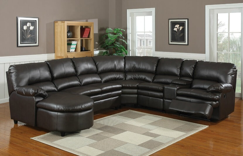 Merveilleux Man Cave Leather Sectional Sofa