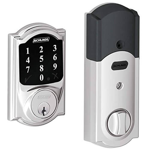 Here's another sleek and handsome touchscreen deadbolt lock for your home, this time decked out in a matte finish to protect against fingerprints and smudges. There's an anti-pick shield that will protect against potential tampering, as well as an LED backlight for ease of use in the dark. With connected Z-Wave smart home technology, it can integrate with the rest of your automated system to unlock or lock remotely with a smartphone.