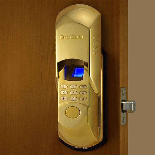 Here's a look at the lock in its fully-opened form, showcasing both the discreet nature of the biometric and passcode operation, as well as the glossy gold finish available.