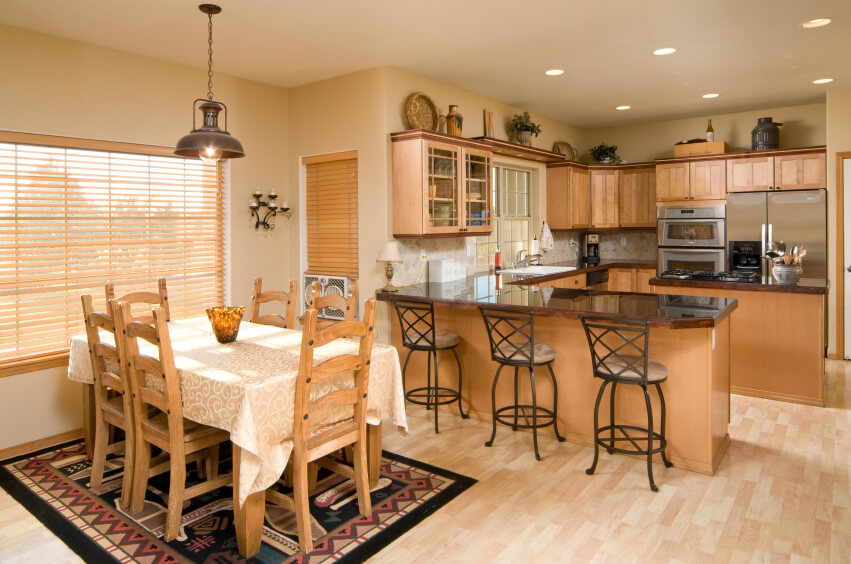 Kitchen photo galleries and blog posts for U shaped dining room