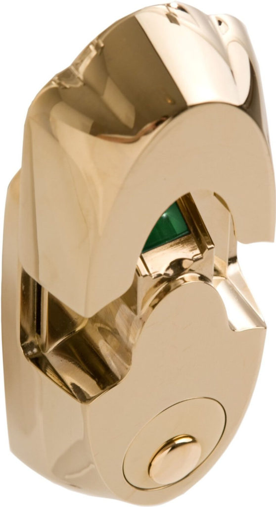 This polished brass deadbolt smart home lock is a gorgeous piece of home security, adding a healthy dose of style and substance to a new technology. This lock is designed around a single fingerprint scanner, allowing you to program and store up to 99 distinct users. Track and program to allow access to specific people at specific times, this tough device is drill, bump, and tamper proof and boasts a high pitched alarm to deter thieves.