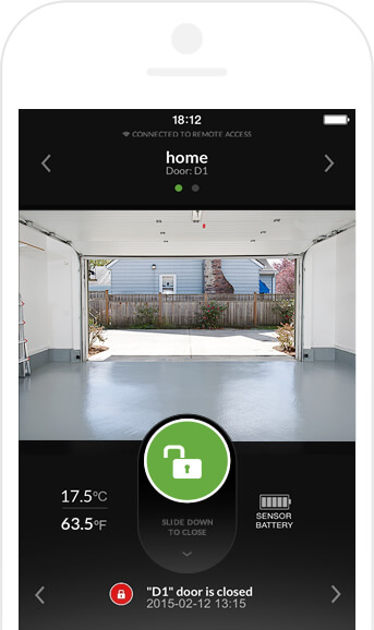 Now that you've seen the device itself, here's a close look at the app as it appears on your smartphone. You'll be able to take a direct real-time look at the garage and operate the door remotely, with ease.