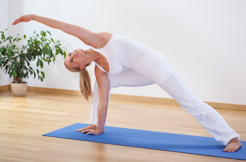 Home yoga studio with plant