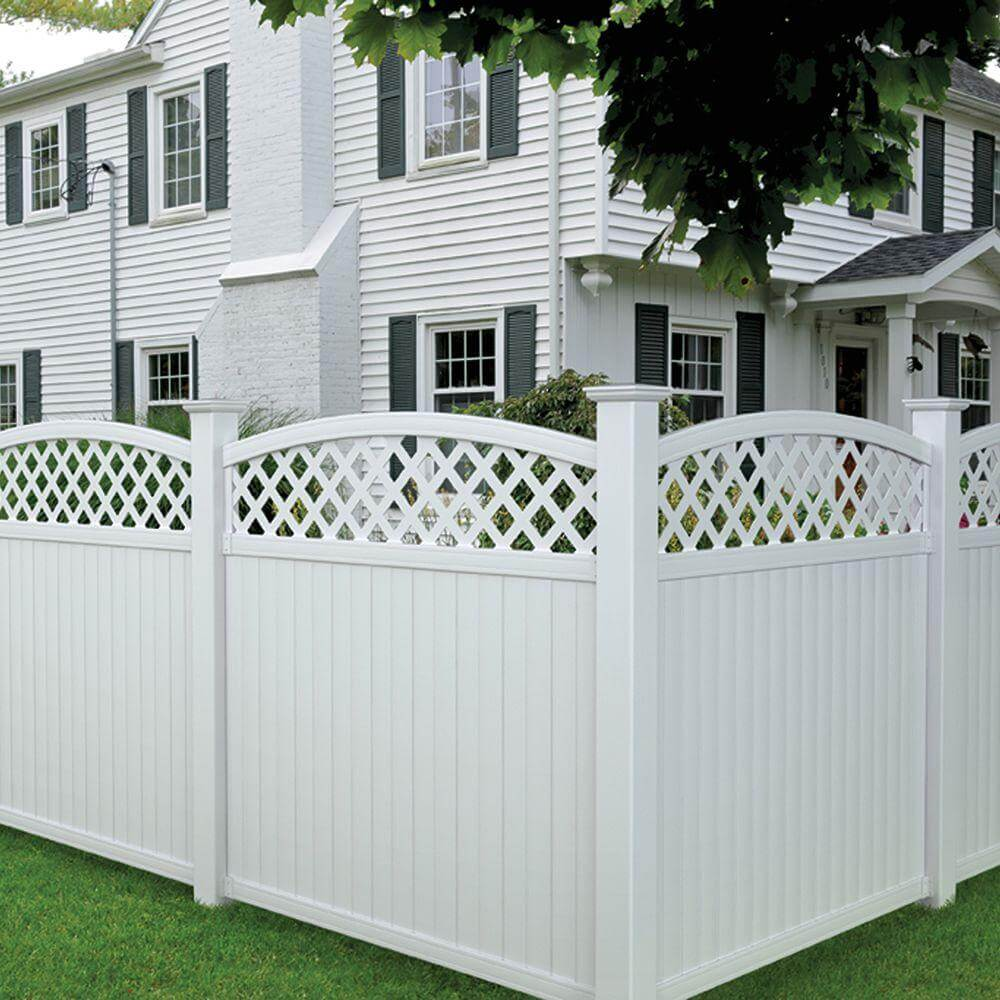Lattice Rounded Top Vinyl Fence