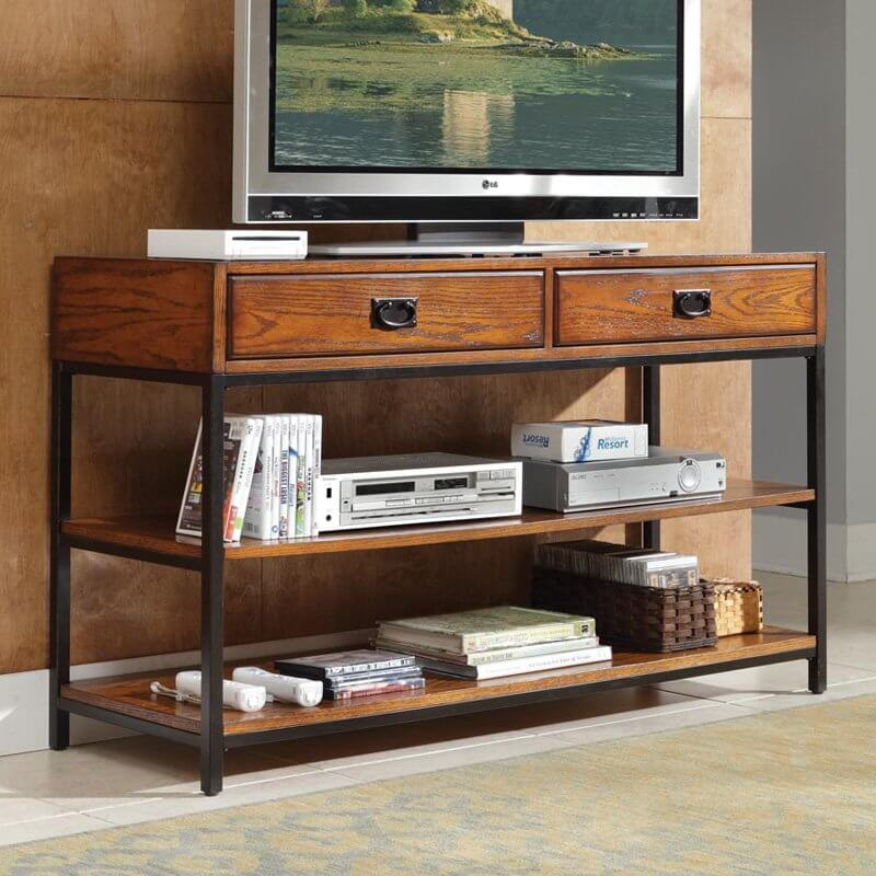 this console style piece features our first instance of metal pairing perfectly with the rich