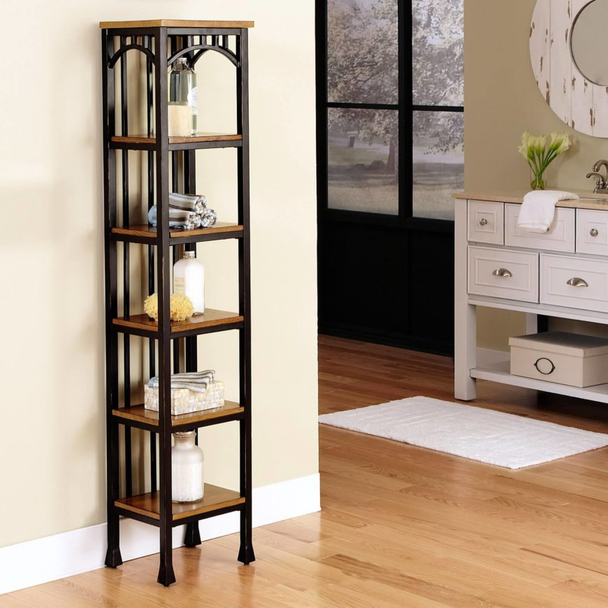 This gorgeous, slim tower features rich oak shelving and a brown powder coated metal frame, perfectly illustrating the simplicity and sturdiness of Craftsman design. The only embellishments are a set of arches beneath the top layer, leaving the stark and strong tower to stand on its own.
