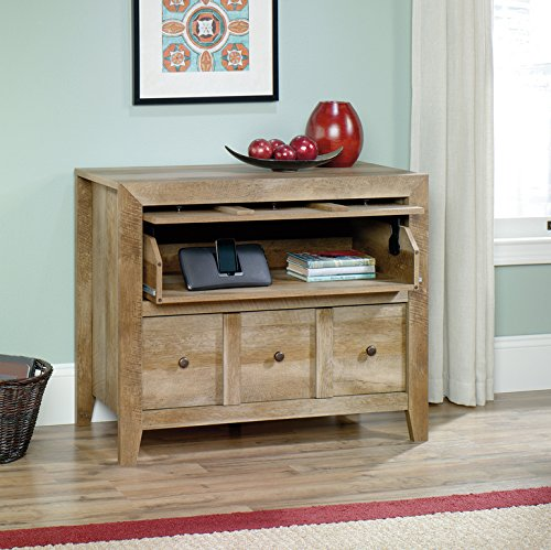 Similar to the above bookshelf, this svelte and squat piece of furniture is another grand example of Craftsman style in a compact, unassuming form. The light natural wood tone lends itself to rustic spaces, or as a counterpoint to more modern rooms. The Craftsman design allows for unique and useful features like the lift-and-hide panel that reveals a pull-out surface.