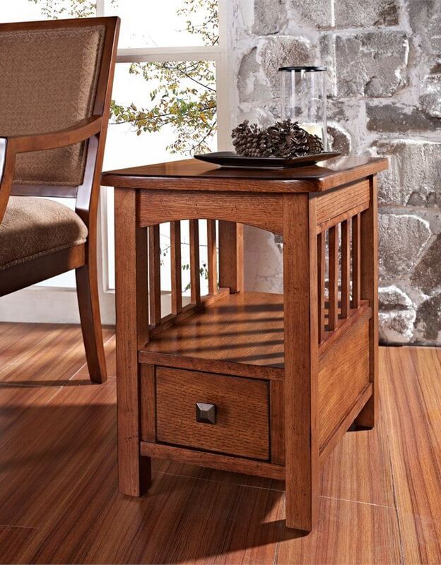 This elegant design features the familiar light arched shape between legs, plus a set of slim vertical slats for protecting your nicknacks and books. The chunky, thick wood design houses a discreet drawer on the lower level, a perfect little touch of utility for your living room.