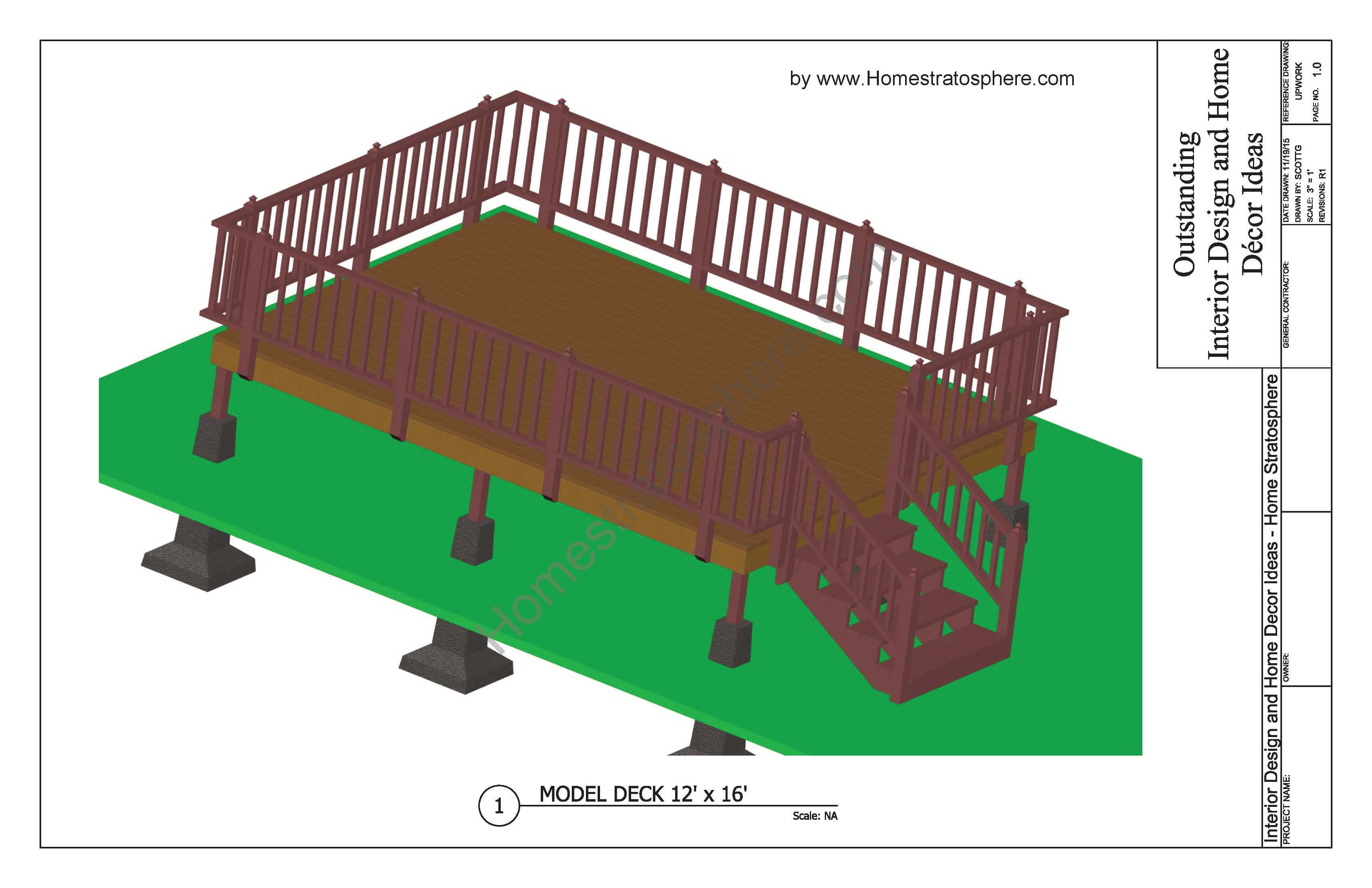 Free 12'x16' Deck Plan Download