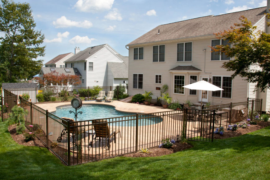 Pool Fencing Ideas mix and match pool fence style This Is A Simple Black Metal Post Fence This Is A Very Simple And Utilitarian