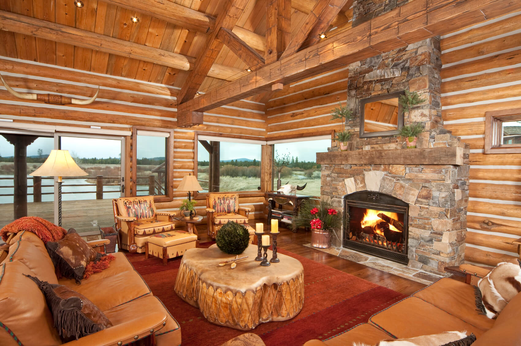 25 sublime rustic living room design ideas for Log cabin sunrooms