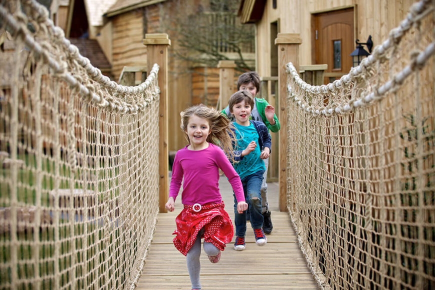 Rope bridges lead to and from many of the tree houses, and are sturdy enough for kids to go all out on!