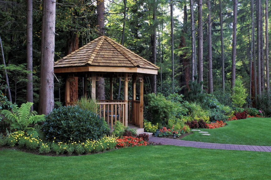 Design Backyard Landscape innovative landscape design backyard backyard landscaping pictures title design backyard landscaping This Cedar Gazebo Is Nestled At The Edge Of The Homes Property Nearest To The Forest