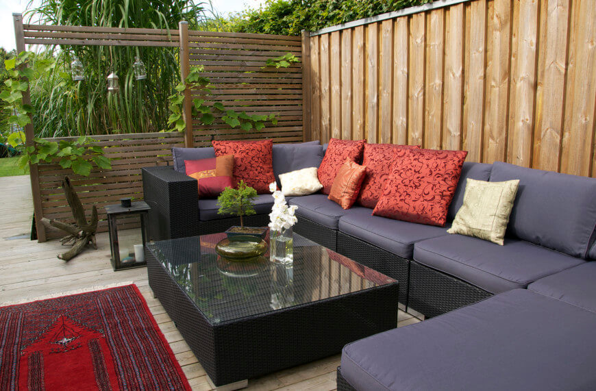 A Private Seating Area Is Enhanced By Adding A Wooden Screen To One Side.  Trailing