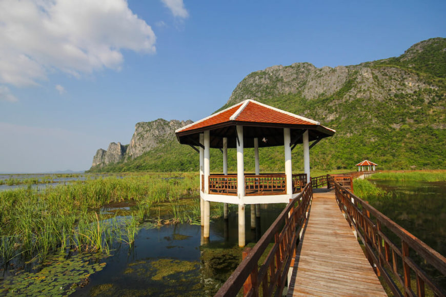 This stilted pavilion rests alongside a bridge across a large marsh and overlooks the beautiful mountainous region on either side of the marsh.