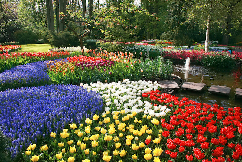 This lovely garden has dozens of colors of flowers packed into beds that slowly merge together, creating a quilt-like pattern of delicate flowers.