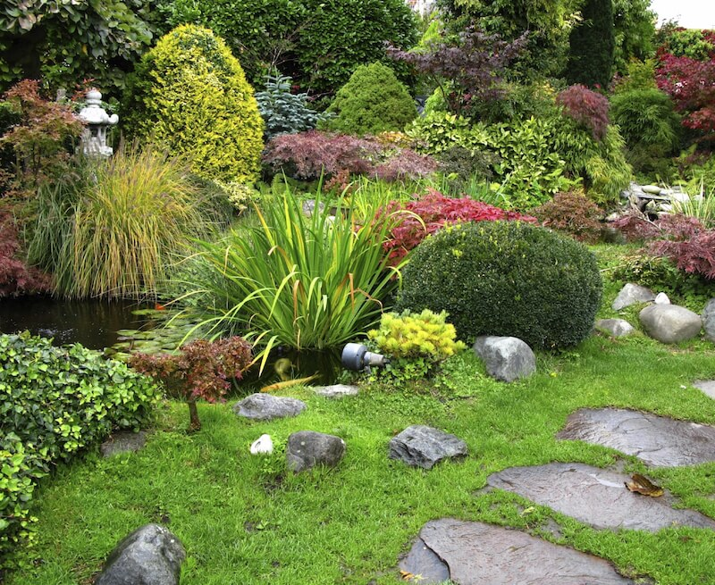 Large flagstones make up a pathway through this densely populated garden that includes shrubs, grasses, trees, and water-loving plants.