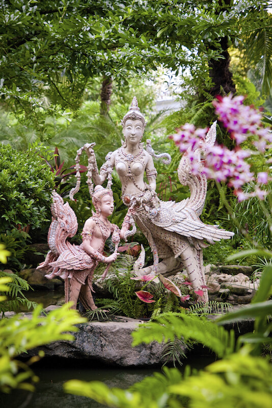 These incredibly ornate statues depict Hindu deities, and are stunning amongst the thick greenery and vibrant flowers.