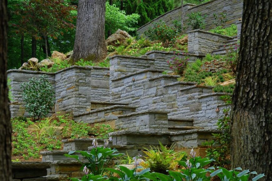 This backyard has a plethora of steps leading up the steep hillside.