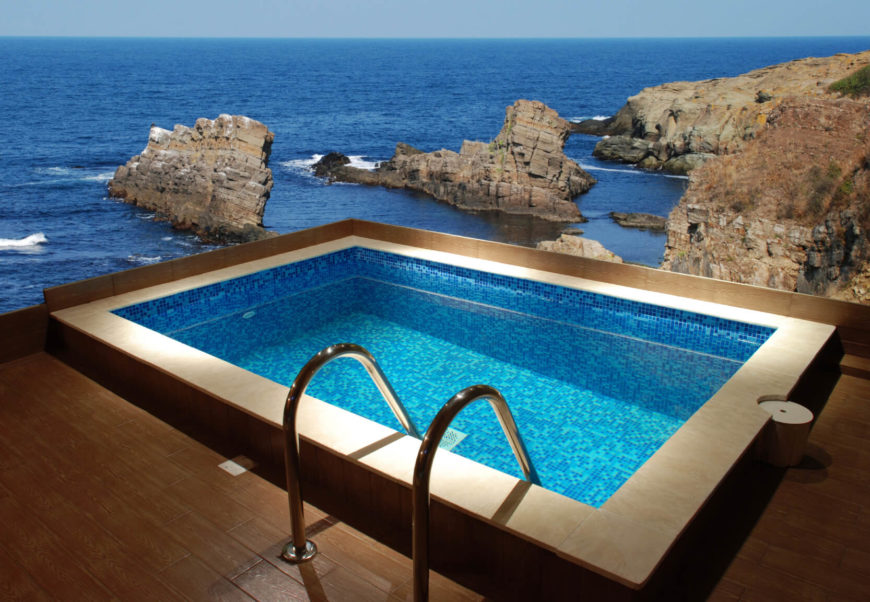 This tiny pool is perfect for a casual dip on a hot day. It takes very little space. This pool can fit off the corner of a deck, without dedicated space.