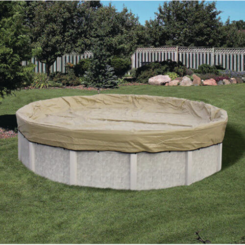 A winter cover for an above ground pool. Rather than being weighted down by bags of water, this cover is clipped to the sides of the walls of the pool. Again, this is good protection from winds and other elements, but would likely not hold much weight on the top of the cover.