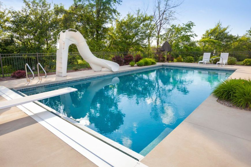 A simple slide with a durable and built in ladder. This an ideal slide fro minimal space, as it is high without being overly long, and curves to add a bit of extra length without having to be set too far away the poolside.