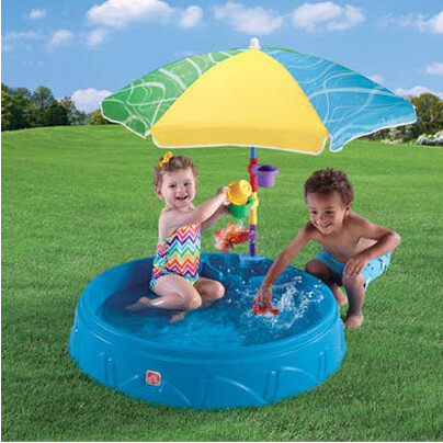 This is a more complex version of the hard plastic kids pool. This one comes with an umbrella and toys. The thicker design on this pool adds to its durability. This pool may last a few more seasons that the cheaper plastic models.