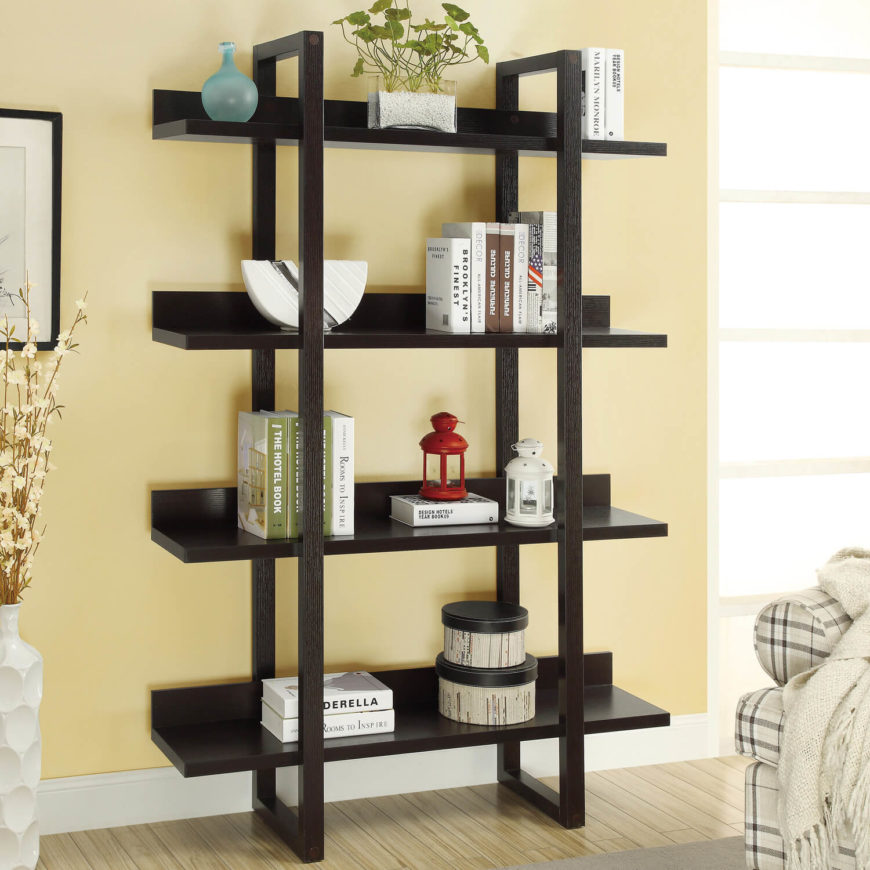 27 beautiful living room shelves home stratosphere this free standing bookshelf is sleek and simple and can fit in almost any living solutioingenieria Image collections
