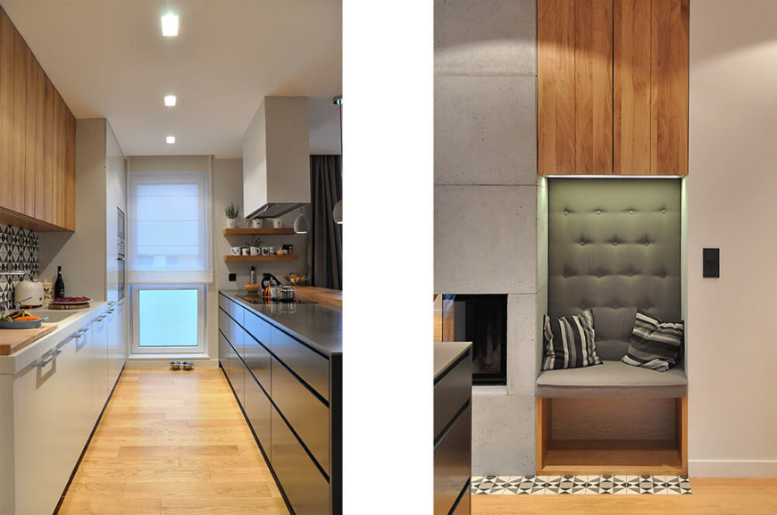 On the left, a view into the galley kitchen, highlighting the mixture of glossy black, white, and natural wood elements. On the right, a small seating area across from the kitchen and next to the fireplace.