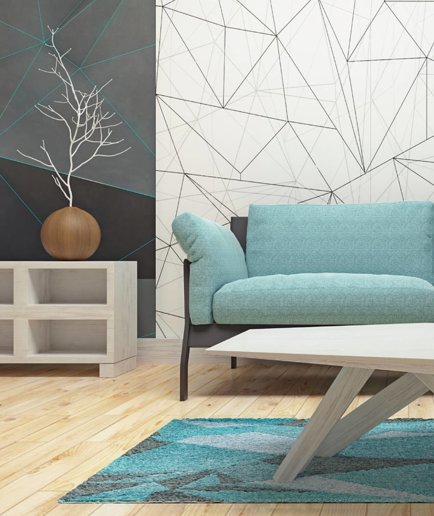 This is a simple and modern design with a bright and cool color scheme. The lighter wood tones and the cool blues are slightly contrasted by dark and dull grays, but it maintains a clean and simple look.