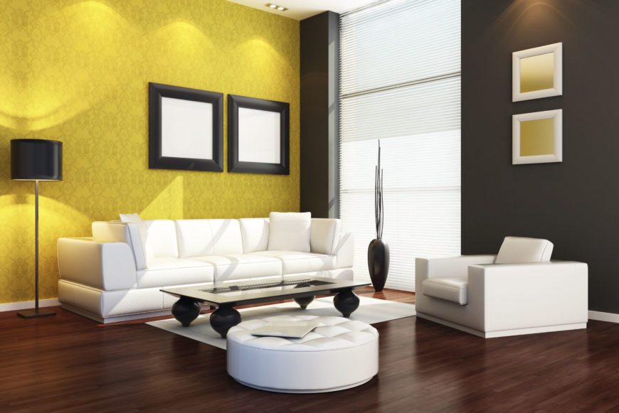 Stark White Furnishings Are Backed By Black And Yellow Walls. This Is A  Bold And