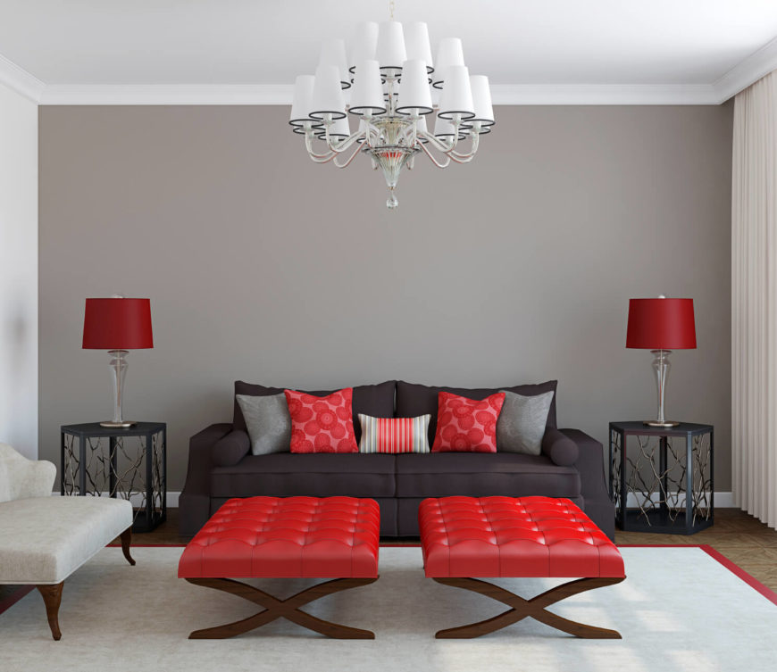 This Modern And Simplistic Room Accents A Monochrome Design With A Vibrant  Red. The Red