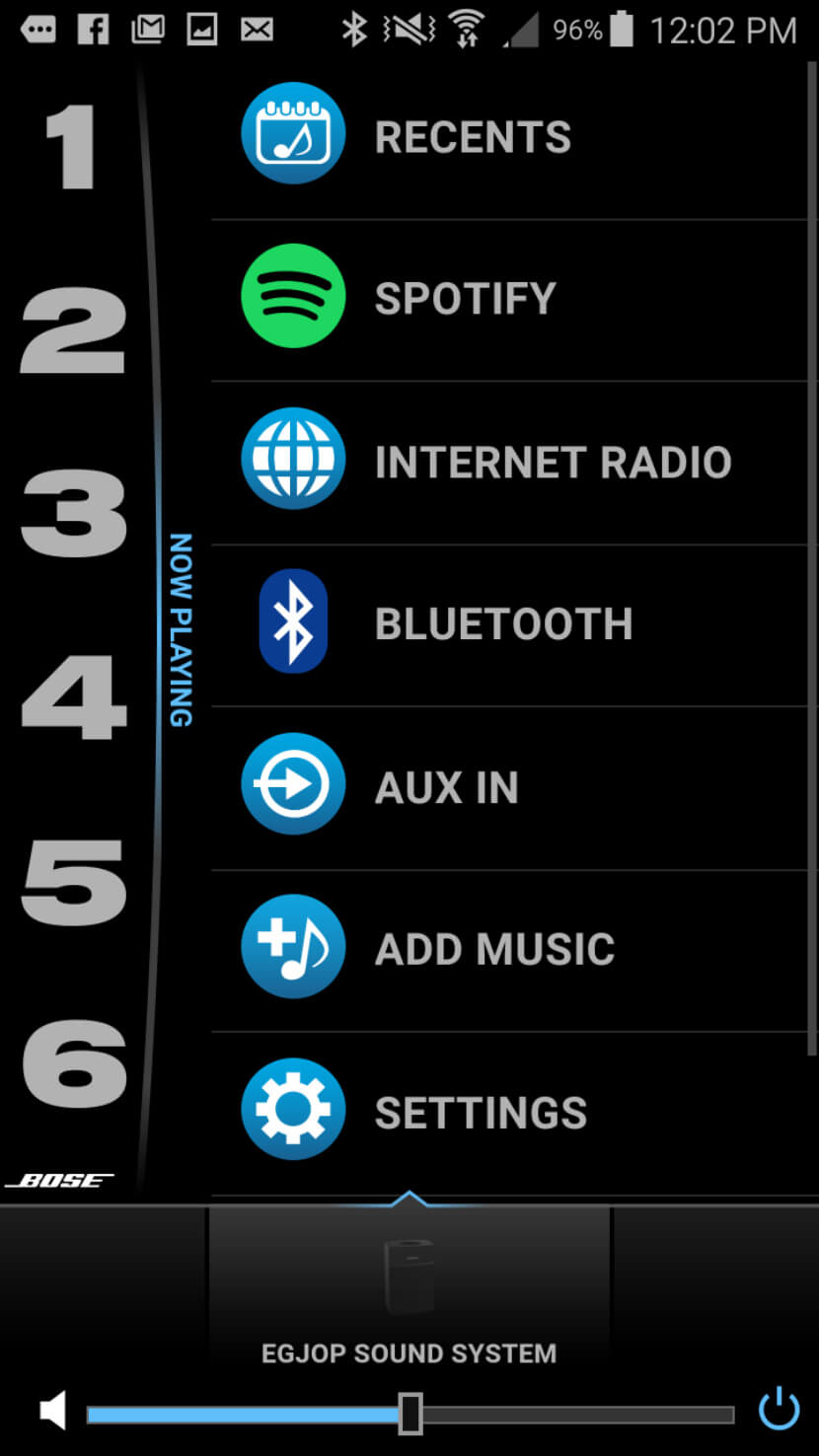 Screenshot of the Bose SoundTouch App with Spotify