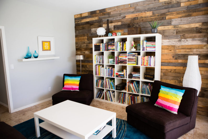 Ordinaire Colorful Contemporary Living Room With Cube Storage.