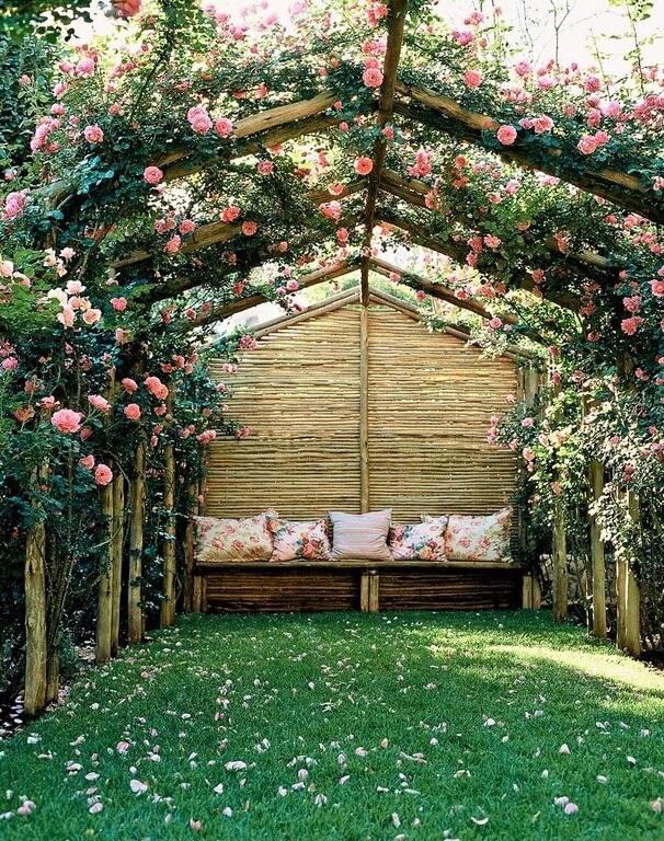 Use trained roses to create a romantic getaway in the privacy of your own backyard.