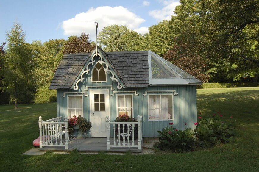 A Victorian style playhouse is freshly painted and the landscaping spruced up. A large structure like this needs to be kept looking good. Buyers might look at a dilapidated structure and see only money spent to demolish it.