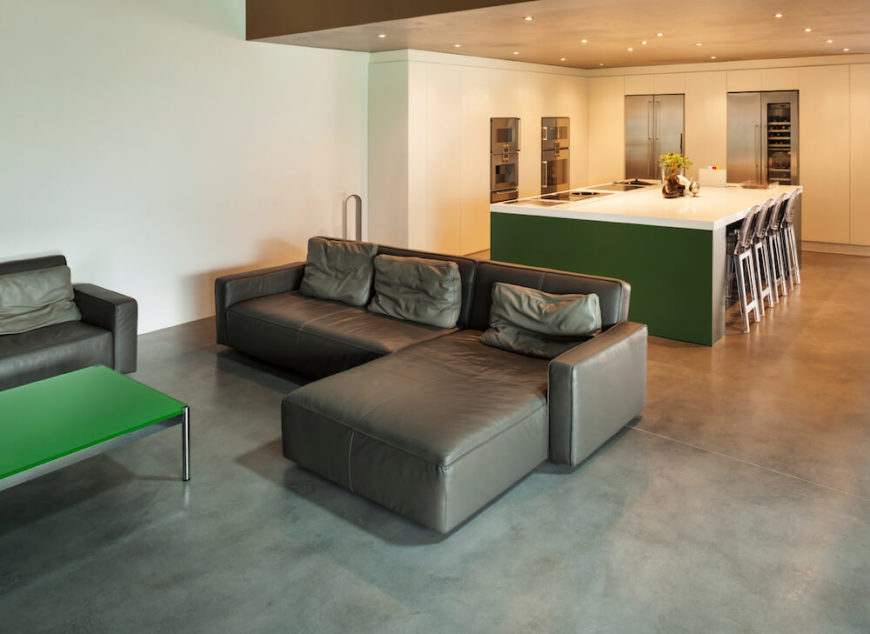 Here Is A Modern And Sleek Living Room With Concrete Floor This Kind Of