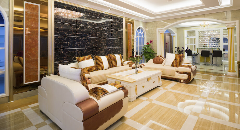22 stunning living room flooring ideas for Living room designs tiles