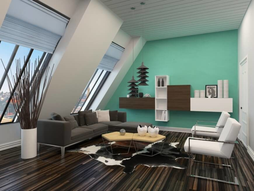 Here Is A Modern Living Room With Dark And Rich Wooden Floor This